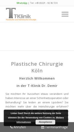 Vorschau der mobilen Webseite www.t-klinik.com, T-Klinik am Rudolfplatz
