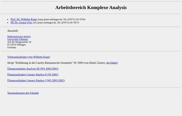 Vorschau von www.math.uni-tuebingen.de, Komplexe Analysis