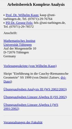Vorschau der mobilen Webseite www.math.uni-tuebingen.de, Komplexe Analysis
