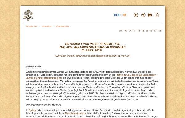 Vorschau von www.vatican.va, Botschaft von Papst Benedikt XVI. zum XXIV. Weltjugendtag
