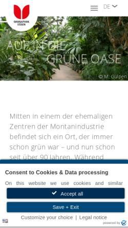 Vorschau der mobilen Webseite www.grugapark.de, Grugapark Essen