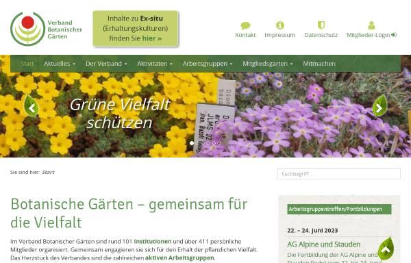 Vorschau von www.verband-botanischer-gaerten.de, Verband Botanischer Gaerten e.V.
