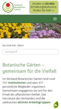Vorschau der mobilen Webseite www.verband-botanischer-gaerten.de, Verband Botanischer Gaerten e.V.