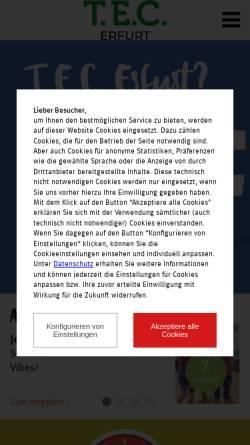 Vorschau der mobilen Webseite www.thueringereinkaufscenter.de, T.E.C. Thüringer Einkaufszentrum Erfurt