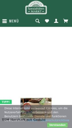 Vorschau der mobilen Webseite www.thueringer-spezialitaeten.de, Thüringer Spezialitätenmarkt GmbH