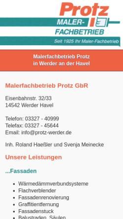Vorschau der mobilen Webseite www.protz-werder.de, Malerfachbetrieb Protz GbR