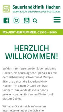 Vorschau der mobilen Webseite www.sauerlandklinik-hachen.de, Sauerlandklinik Hachen