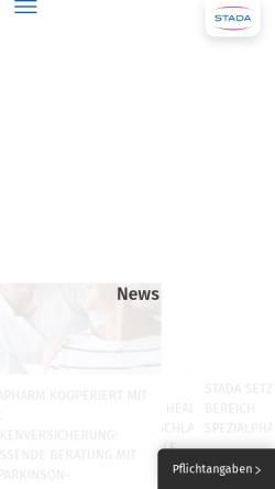 Vorschau der mobilen Webseite www.stada.de, Stada Arzneimittel AG