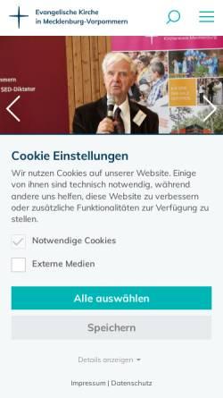 Vorschau der mobilen Webseite www.kirche-mv.de, Pommersche Evangelische Kirche (PEK), Evangelisch-Lutherischen Landeskirche Mecklenburgs (ELLM)