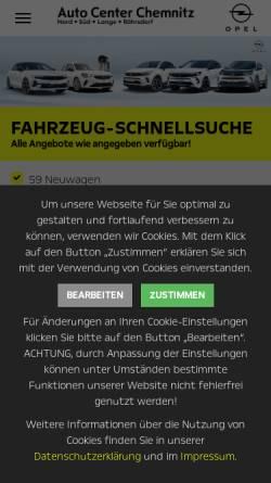 Vorschau der mobilen Webseite www.opel-chemnitz.de, Auto Center Chemnitz / Auto Center Nord GmbH
