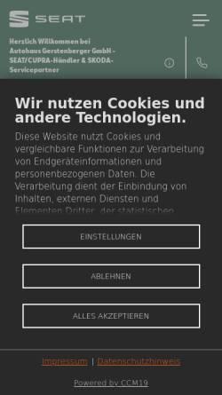 Vorschau der mobilen Webseite gerstenberger.seat.de, Seat Autohaus Gerstenberger