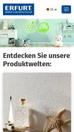 Vorschau der mobilen Webseite www.erfurt.com, Erfurt & Sohn - Rauhfaser - Tapeten, D-Wuppertal