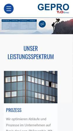 Vorschau der mobilen Webseite www.gepro.com, Gepro mbH