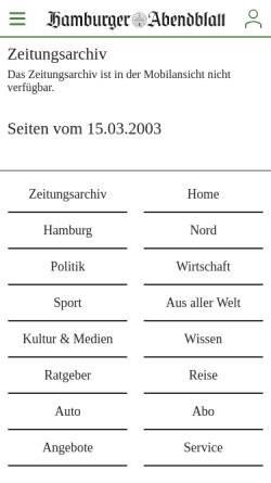 Vorschau der mobilen Webseite www.abendblatt.de, Hamburger Abendblatt - Elizabeth: Rätsel um Entführung