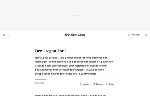 Vorschau von www.nzz.ch, Neue Züricher Zeitung - Der Oregon Trail