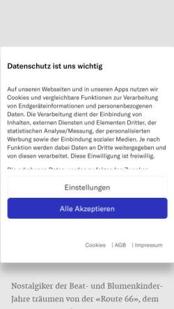 Vorschau der mobilen Webseite www.nzz.ch, Neue Züricher Zeitung - Der Oregon Trail