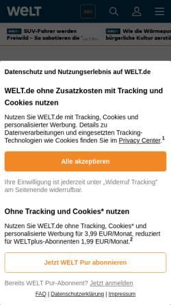 Vorschau der mobilen Webseite www.welt.de, Die Welt - Amerikanischer Fundamentalismus