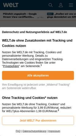 Vorschau der mobilen Webseite www.welt.de, Die Welt - Das Massaker von Mountain Meadows