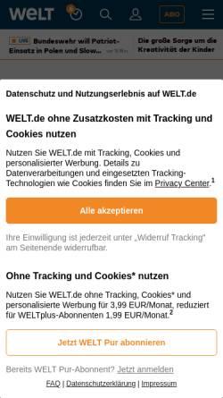 Vorschau der mobilen Webseite www.welt.de, Die nach den Sternen greift - Welt am Sonntag