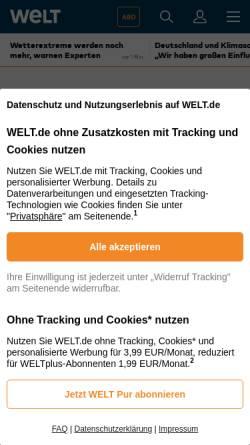Vorschau der mobilen Webseite www.welt.de, Die Welt - Wabag-Prozess wird sich lange hinziehen