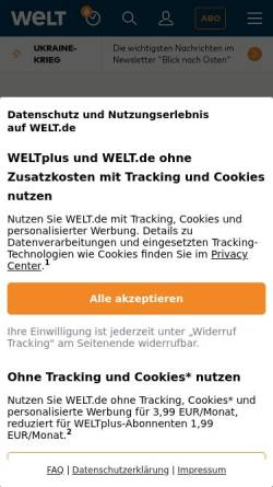 Vorschau der mobilen Webseite www.welt.de, Die Welt - Amerikaner suchen ihre Wurzeln