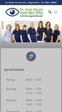 Vorschau der mobilen Webseite augenarzt-muelheim.de, von der Ohe, Dr. med. Nicola