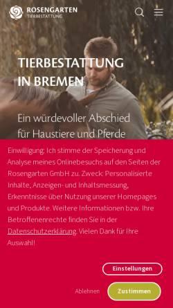 Vorschau der mobilen Webseite www.tierfriedhof-bremen.de, Tierfriedhof Bremen