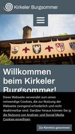 Vorschau der mobilen Webseite www.burgsommer.de, Kirkeler Burgsommer