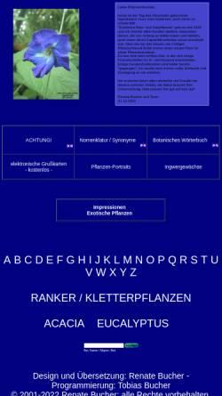 Vorschau der mobilen Webseite www.exot-nutz-zier.de, Exotische Nutz- und Zierpflanzen Versand Renate Bucher