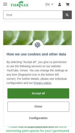Vorschau der mobilen Webseite www.palms.de, Thrinax, Inh. Jörg Schumann