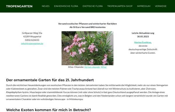 Vorschau von www.tropengarten.de, Tropengarten, Dr.Michael Lorek