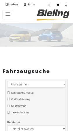 Vorschau der mobilen Webseite www.bieling.de, Bieling Automobil GmbH