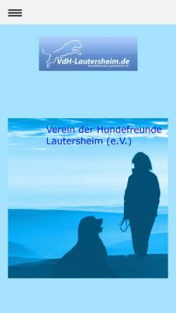 Vorschau der mobilen Webseite www.vdh-lautersheim.de, Verein der Hundefreunde Lautersheim e.V.