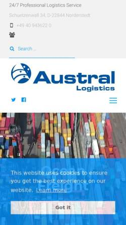 Vorschau der mobilen Webseite www.austral-logistics.de, Austral Logistics GmbH