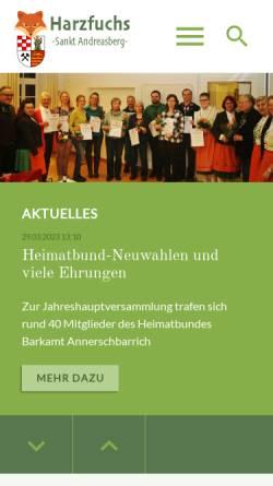 Vorschau der mobilen Webseite www.harzfuchs.de, Harzfuchs.de