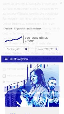 Vorschau der mobilen Webseite www.boerse-frankfurt.com, Börse Frankfurt