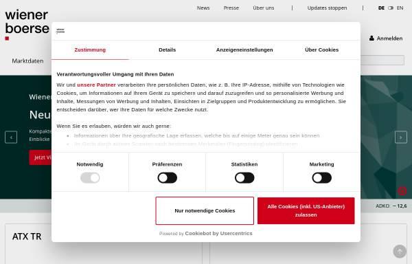 Vorschau von www.wienerborse.at, Wiener Börse AG