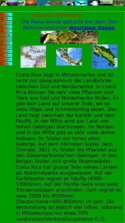 Vorschau der mobilen Webseite www.kmon.de, Costa Rica Informationen [Karl Mock]