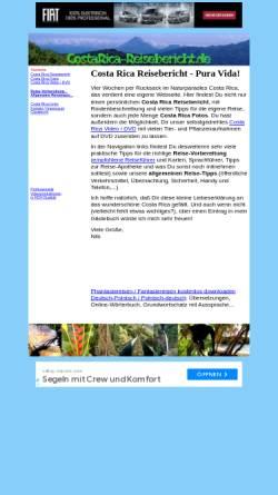 Vorschau der mobilen Webseite www.costarica-reisebericht.de, Pura Vida [Nils Klippstein]