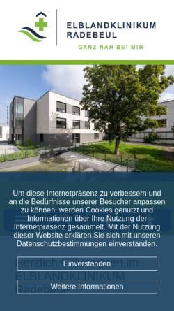 Vorschau der mobilen Webseite www.elblandkliniken.de, Elblandkliniken Meißen-Radebeul GmbH & Co.KG