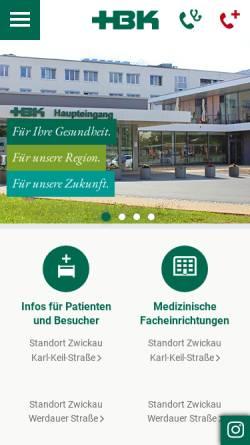 Vorschau der mobilen Webseite www.hbk-zwickau.de, Heinrich-Braun-Krankenhaus Zwickau