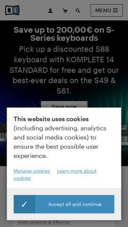 Vorschau der mobilen Webseite www.native-instruments.com, Native Instruments