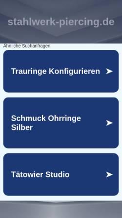 Vorschau der mobilen Webseite www.stahlwerk-piercing.de, Stahlwerk Tattoo- und Piercing, Wolfgang Klasen