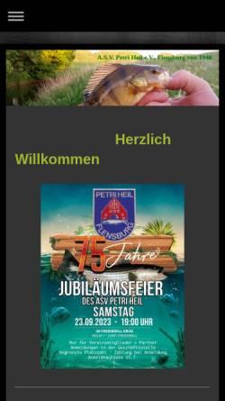 Vorschau der mobilen Webseite www.asv-flensburg.de, ASV Petri Heil e.V.