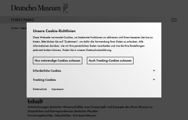 Vorschau von www.deutsches-museum.de, Geheimdokumente zum deutschen Atomprogramm 1938-1945