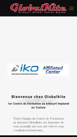 Vorschau der mobilen Webseite www.globalkite.com, Globalkite Kite Surf Center