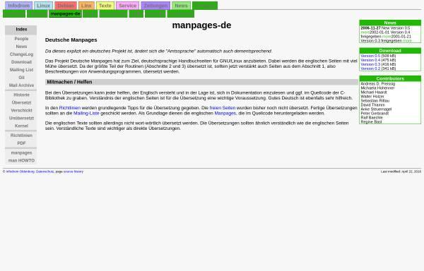 Vorschau von www.infodrom.org, Deutsche Manpages