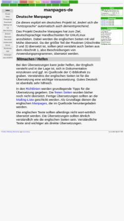 Vorschau der mobilen Webseite www.infodrom.org, Deutsche Manpages