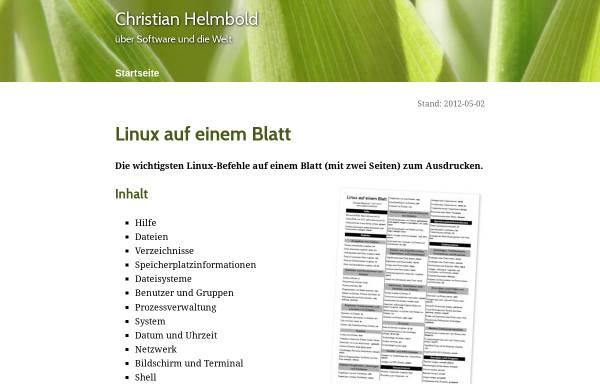 Vorschau von helmbold.de, Linux auf einem Blatt