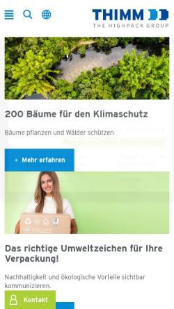 Vorschau der mobilen Webseite www.thimm.de, Thimm Verpackung GmbH + Co. KG